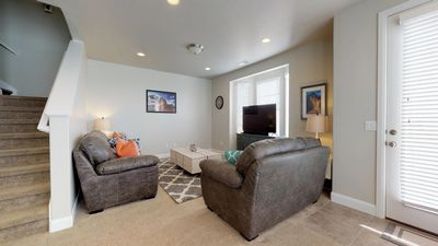 Family room featuring two levels