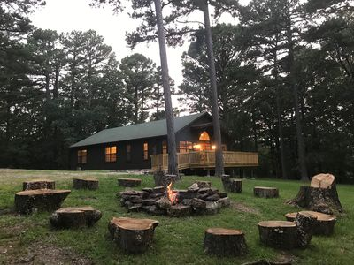 Photo for 4 br 2 bath cabin 4.5 wooded acres in town. Private retreat Huge yard WiFi
