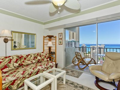 Photo for Great Ocean View, central A/C, 5-10 min. walk to beach!  Sleeps 4.