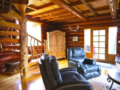 Photo for Cozy Rustic Log Home Living With Wood Fireplace And Hot Tub