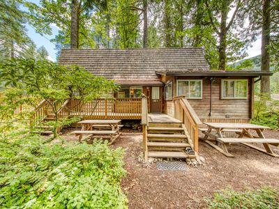 Photo for Charming, two-level A-frame w/ a balcony - close to golf & Mt. Hood skiing