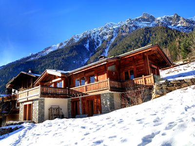Photo for IN CHAMONIX, LUXURY CHALET, full south, front the Mont Blanc