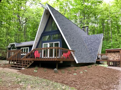 Photo for Modern Remodeled Chalet, private wooded lot, minutes from Schuss & Shanty Creek