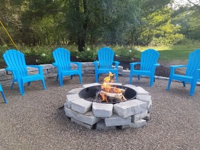 Relax and enjoy a bonfire in the yard.  Pure Michigan Magic and beauty.