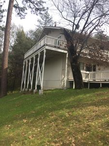 Our beautiful home, view of our deck behind the house.