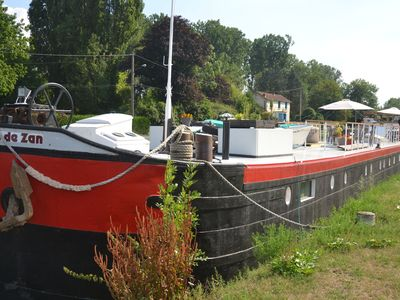 Photo for Barge moored at the marina of Chaumot, canal du Nivernais