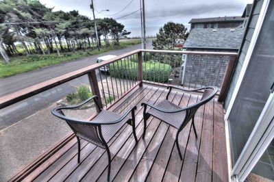 Relax and take in the view from the second floor balcony.