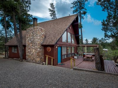 Photo for Luxury Cabin near Downtown w/ WiFi, Fireplace, Grill, Hot Tub & Big Screen TV