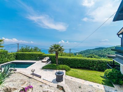 Photo for Authentic holiday house with private pool and sea view, on the hill over Opatija