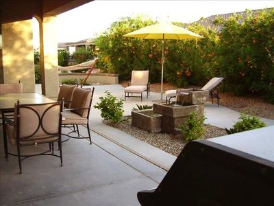 Expansive Back Patio with Fountain