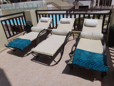 Sunbeds on our balcony - please just bring beach towels, they are not provided.
