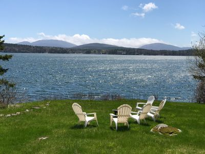 Enjoy the view and fire pit gazing at Eastern Bay and the mountains of Acadia.