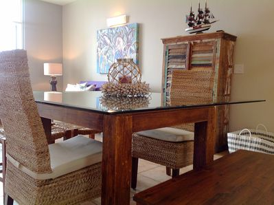 Dining table fits 8  (4 chairs and 2 benches)