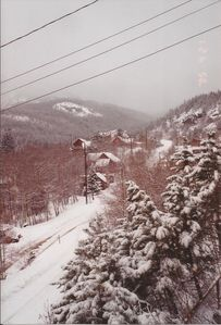 Winter scene view of the village from our deck