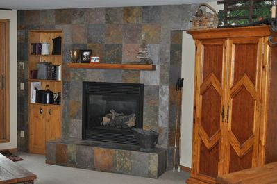 The gas fireplace in the living room.