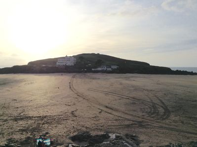 View from beach carpark  towards Burgh Island 140 metres from Fairwinds