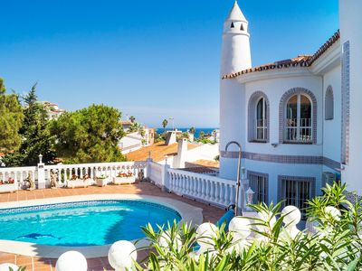 Photo for This 4-bedroom villa for up to 8 guests is located in Mijas Costa and has a private swimming pool, a
