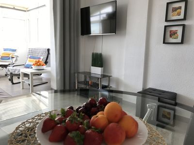 Fruits from the market and living room