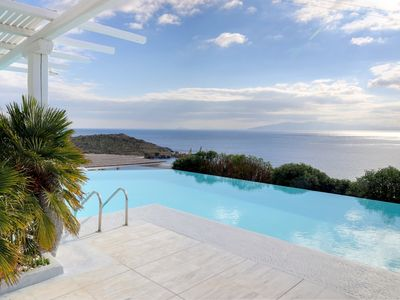 Photo for Beach front Villa Luxotica with Private Bay Mykonos Island, 9 Bedrooms 9 Bathrooms Up to 20 Guests. In the south of the Island Aleomandra Area.