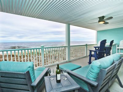Photo for Oceanfront oasis with a double wide deck! Super clean and linens included.