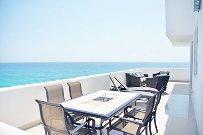 The Spacious Terrace of Penthouse #3702 is right off the kitchen. Top Floor, 7th