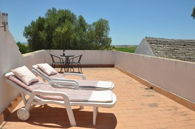 The private roof terrace.