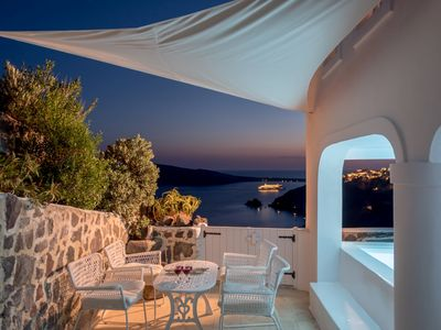Photo for Superb Luxury Villa Deliano in Oia Santorini, 3 Bedrooms, 3 Bathrooms, Outdoor Jacuzzi, Up to 8 Guests, Unforgettable views and unique memories !!