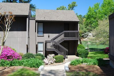 The outside of our golf-front condominium