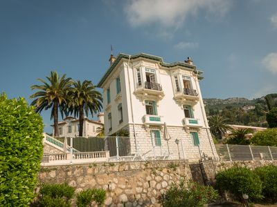 Photo for Apartment in Art Nouveau villa, palm tree garden & pool, Cote d'Azur, Vence / Nice