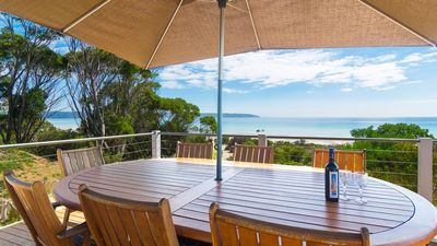 Your private deck overlooking the ocean, wine and views included.....