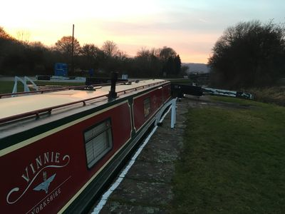 Photo for Vinnie:-  Beautiful Narrrowboat moored on the Famous Bingley 5 Rise