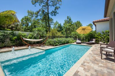 Pool with view into natural preserve