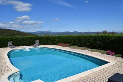 Private pool with views of Ceret and distant mountains