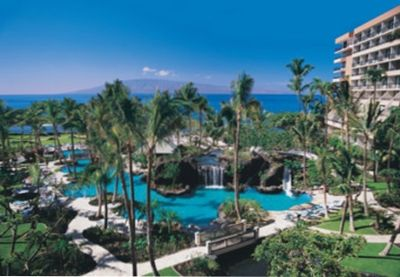 Marriott Maui Ocean Club superpool complex with lovely waterfalls.