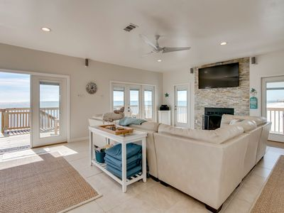 Photo for NEW LISTING! Gulf-front home w/deck & access to beach, well-equipped kitchen