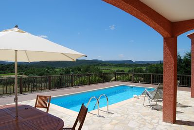 Pool Area with Panoramic views over unspoilt countryside.
