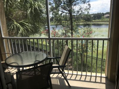 Screened lanai/balcony with beautiful lake view