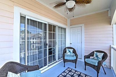 Unwind from an exciting beach day on your private balcony.