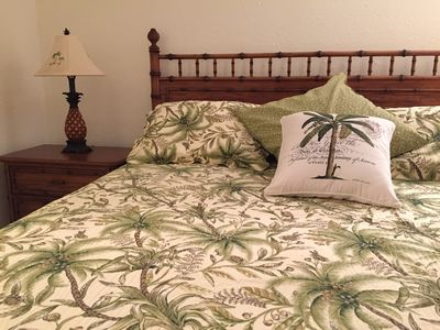 Tropical bedroom with King Size Serta Perfect Sleeper.