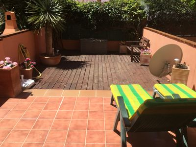 Photo for Two Bedroom Ground Floor Duplex Apartment With Private Garden Area, Shared Pool