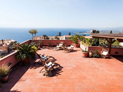 Photo for San Domenico Penthouse, ideal for groups in the center on Taormina with terrace.