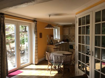 Photo for 2 rooms with terrace in very beautiful flowery park with swimming pool