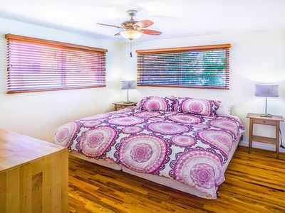 King Bed is great. Bedroom with dresser, closet night stands, lamps and mirror.