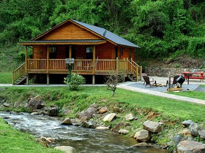 Photo for Romantic Creekside Cabin only 3 miles from Downton Bryson City!
