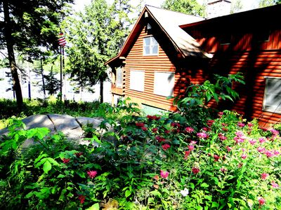 This nice log cabin faces Moosehead Lake and has beautiful sunsets!