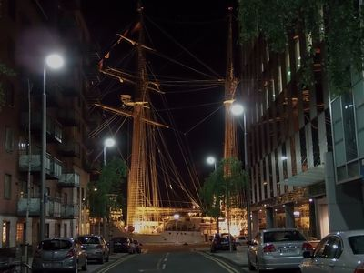 Tall Ships sometimes moor at the end of our street just 50 steps away.