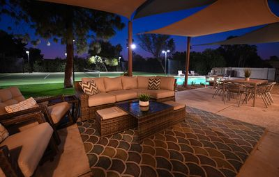 Patio Lounge area for gathering and watching TV outside.