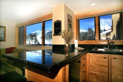 Kitchen and spectacular ski area views from the condo.