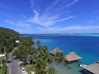 The gorgeous Bora Bora Blue Lagoon shot from a drone above our bungalow.