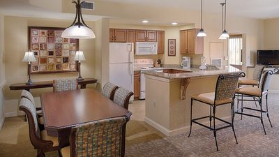 Cooking meals are a breeze in the full kitchen/dining area